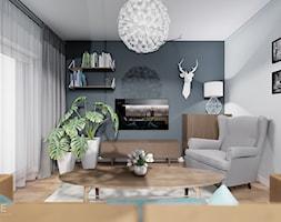 MIESZKANIE WOLA - Średni szary salon z bibiloteczką z tarasem / balkonem, styl skandynawski - zdjęcie od INVENTIVE studio