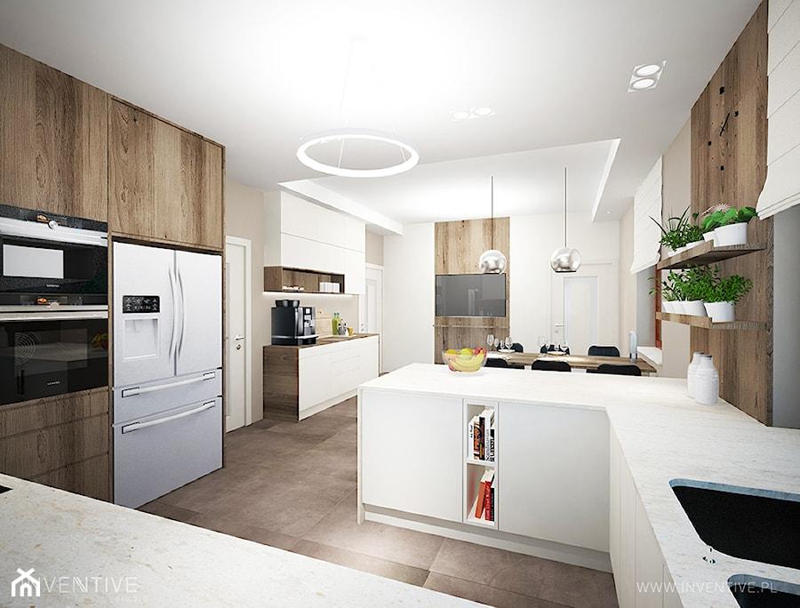 ART DECO - Średnia otwarta beżowa kuchnia w kształcie litery g w aneksie z oknem, styl art deco - zdjęcie od INVENTIVE studio