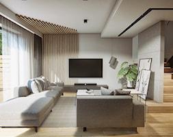 DOM W PŁOCKU - Duży szary salon z tarasem / balkonem, styl nowoczesny - zdjęcie od INVENTIVE studio