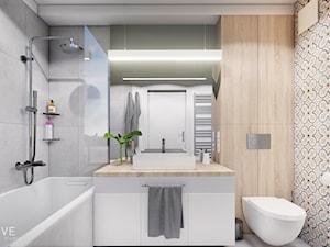 MIESZKANIE KRAKÓW - Średnia łazienka w bloku w domu jednorodzinnym bez okna, styl minimalistyczny - zdjęcie od INVENTIVE studio