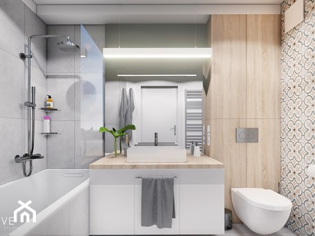 Aranżacje wnętrz - Łazienka: MIESZKANIE KRAKÓW - Średnia łazienka w bloku w domu jednorodzinnym bez okna, styl minimalistyczny - INVENTIVE studio. Przeglądaj, dodawaj i zapisuj najlepsze zdjęcia, pomysły i inspiracje designerskie. W bazie mamy już prawie milion fotografii!
