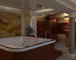 dom klasyczny - Duża beżowa czarna brązowa łazienka na poddaszu w bloku w domu jednorodzinnym jako domowe spa bez okna, styl tradycyjny - zdjęcie od manawa studio