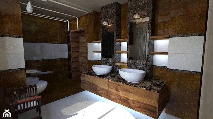 dom klasyczny - Średnia czarna brązowa łazienka na poddaszu w bloku w domu jednorodzinnym bez okna, styl klasyczny - zdjęcie od manawa studio