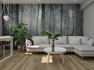 NIEWIELKIE MIESZKANIE NA WYNAJEM - Mały szary biały salon z jadalnią, styl skandynawski - zdjęcie od MANUKA pracownia projektowa