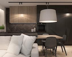 MIESZKANIE 55m2 DLA MŁODEJ PARY - Mały szary czarny salon z kuchnią z jadalnią - zdjęcie od MANUKA pracownia projektowa