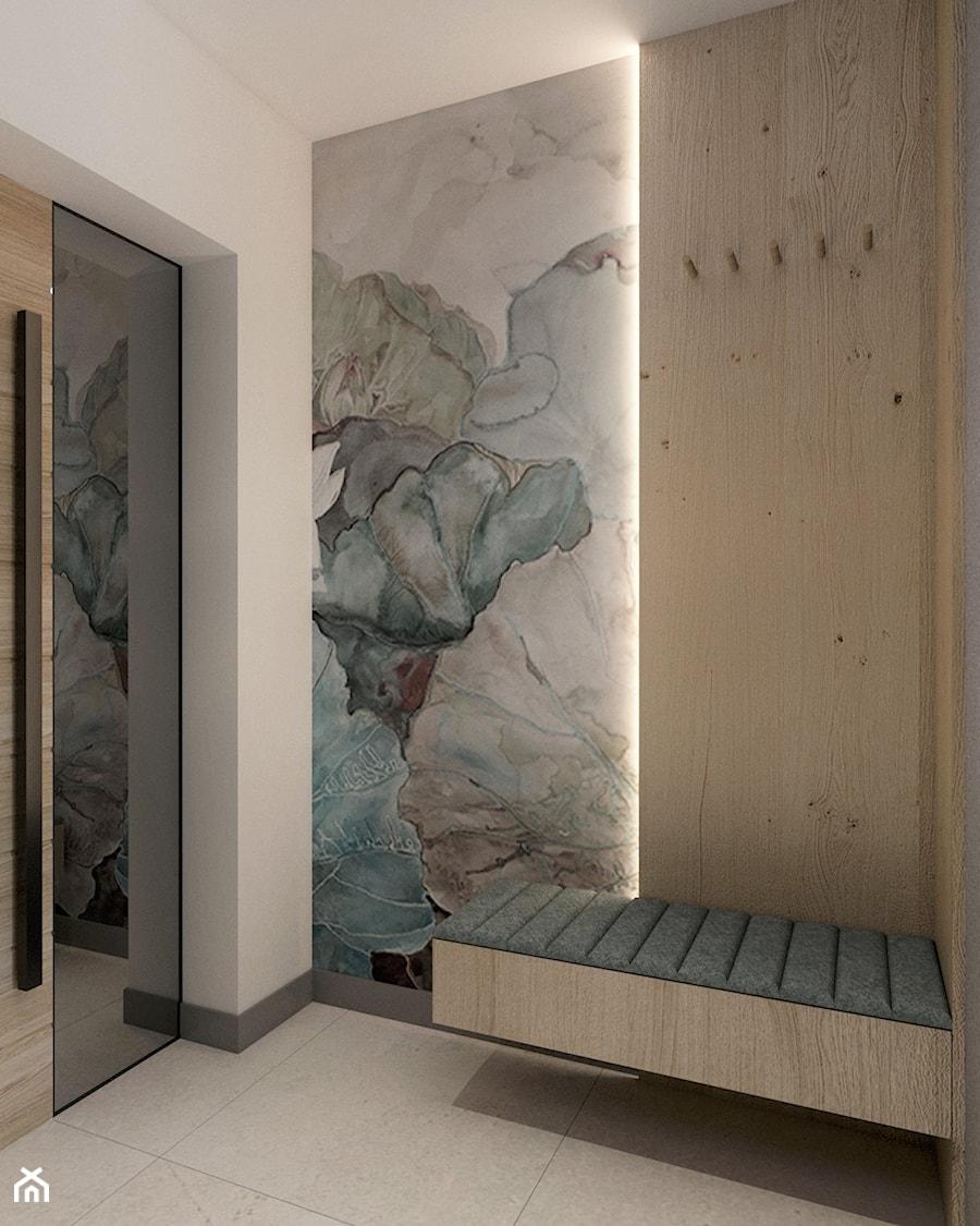 DOM W RUDZICY - Mały biały szary hol / przedpokój, styl nowoczesny - zdjęcie od MANUKA pracownia projektowa