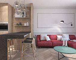 MIESZKANIE W GLIWICACH - Średni szary salon z kuchnią z jadalnią, styl nowoczesny - zdjęcie od MANUKA pracownia projektowa