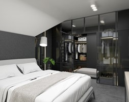 DOM W WILKOWICACH - Średnia biała czarna sypialnia małżeńska na poddaszu z garderobą - zdjęcie od MANUKA pracownia projektowa