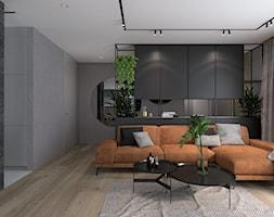 DOM NAD JEZIOREM - Duży szary salon z tarasem / balkonem - zdjęcie od MANUKA pracownia projektowa