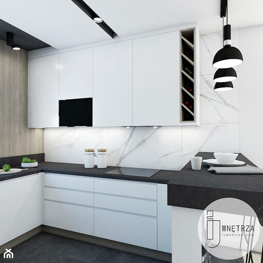 KUCHNIA z marmurem - Średnia otwarta biała kuchnia w kształcie litery u, styl nowoczesny - zdjęcie od IJ Wnętrza
