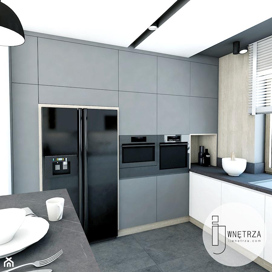 KUCHNIA z marmurem - Średnia otwarta biała kuchnia w kształcie litery g w aneksie z oknem, styl now ... - zdjęcie od IJ Wnętrza