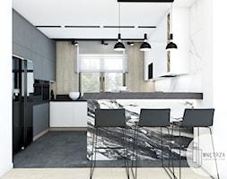 KUCHNIA z marmurem - Średnia otwarta biała kuchnia w kształcie litery g z oknem, styl nowoczesny - zdjęcie od IJ Wnętrza - Homebook