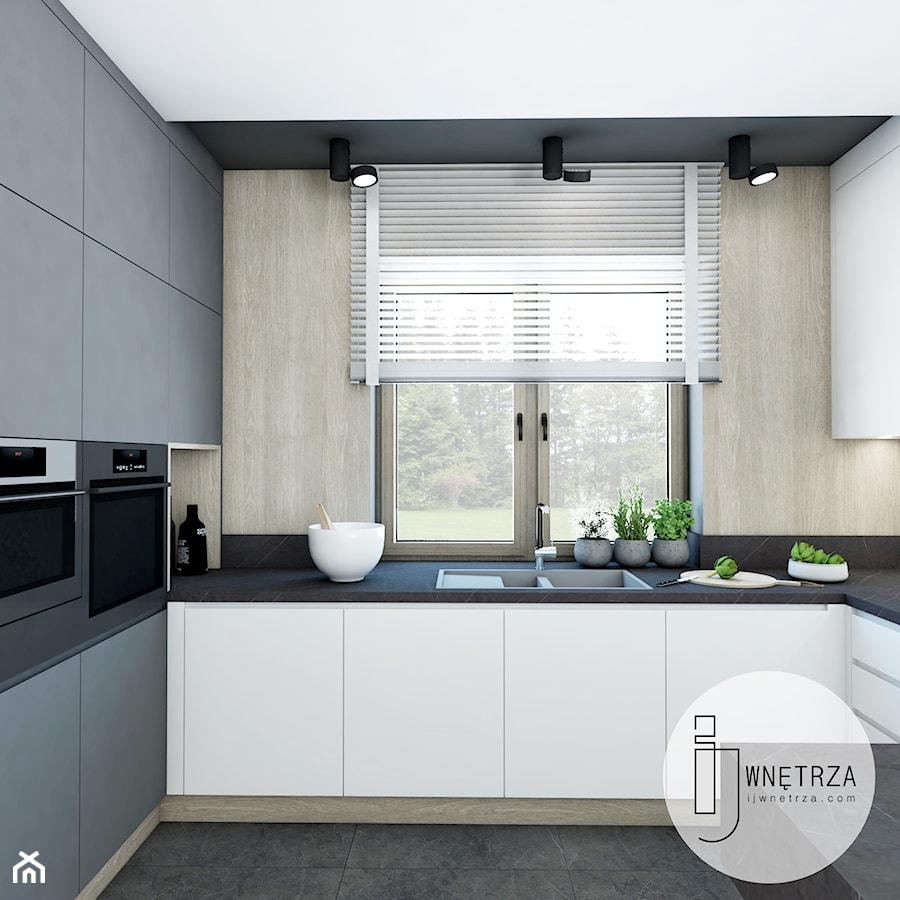 KUCHNIA z marmurem - Średnia otwarta szara czarna kuchnia w kształcie litery u w aneksie z oknem, s ... - zdjęcie od IJ Wnętrza