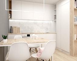 Mieszkanie w Lędzinach Middle Studio - Średnia otwarta biała szara kuchnia w kształcie litery l, styl nowoczesny - zdjęcie od Middle Studio