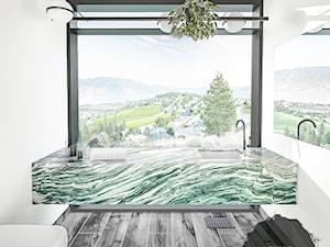 Łazienka z górskim widokiem w odcieniach zieleni