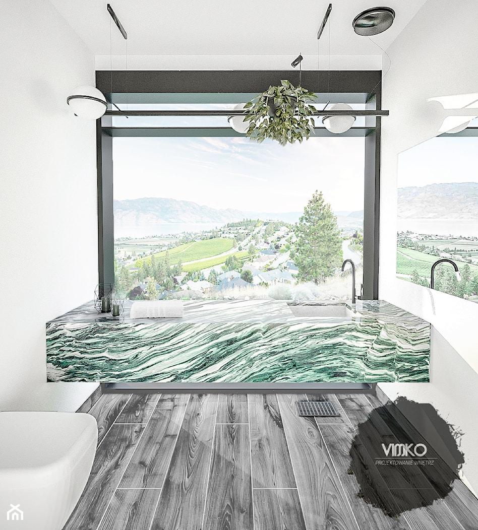 Łazienka z górskim widokiem w odcieniach zieleni - Łazienka, styl nowoczesny - zdjęcie od Vimko Projektowanie Wnętrz - Homebook