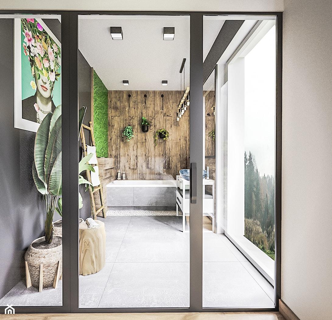 Łazienka spa - Średnia czarna łazienka w bloku w domu jednorodzinnym z oknem, styl nowoczesny - zdjęcie od Vimko Projektowanie Wnętrz - Homebook