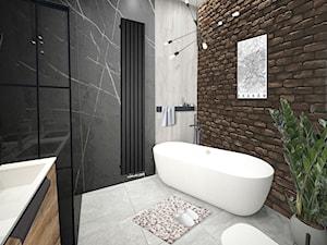 Łazienka wanna wolnostojąca - Średnia czarna łazienka bez okna, styl industrialny - zdjęcie od Vimko Projektowanie Wnętrz