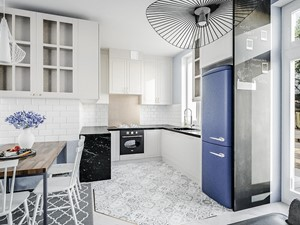 Mieszkanie | klasyka-vintage | Ikea | - Średnia otwarta biała niebieska kuchnia w kształcie litery u w aneksie z oknem, styl tradycyjny - zdjęcie od Vimko Projektowanie Wnętrz