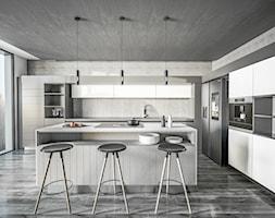 Kuchnia Loft - Duża otwarta szara kuchnia w kształcie litery l z wyspą z oknem, styl industrialny - zdjęcie od Vimko Projektowanie Wnętrz