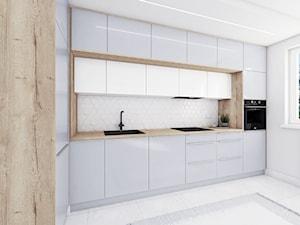 Kuchnia Dąb Halifax + biało/szare akryle