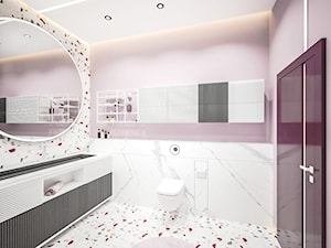 Łazienka Burgund TERAZZO - Średnia biała różowa łazienka bez okna, styl nowoczesny - zdjęcie od Vimko Projektowanie Wnętrz
