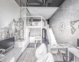 Projekt MiniMaxy Antresola z górską nutą. - Mały salon z kuchnią z jadalnią z antresolą, styl nowoczesny - zdjęcie od Vimko Projektowanie Wnętrz