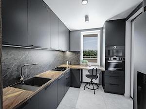 Minimalistyczna kuchnia - Średnia zamknięta czarna kuchnia w kształcie litery l z oknem, styl nowoczesny - zdjęcie od Vimko Projektowanie Wnętrz