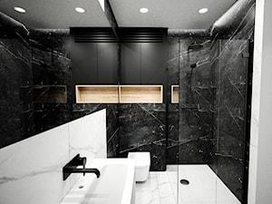 Mała łazienka   Minimalizm   Paradyż Barro - Średnia biała czarna łazienka bez okna, styl minimalistyczny - zdjęcie od Vimko Projektowanie Wnętrz
