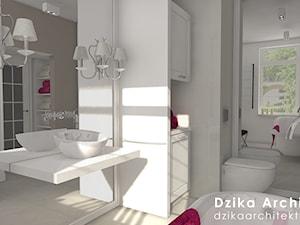 WILLA URSYNÓW - Średnia beżowa czarna łazienka w bloku w domu jednorodzinnym z oknem, styl klasyczny - zdjęcie od DziKa Architektura