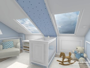 WILLA URSYNÓW - Mały szary niebieski pokój dziecka dla chłopca dla dziewczynki dla niemowlaka, styl klasyczny - zdjęcie od DziKa Architektura