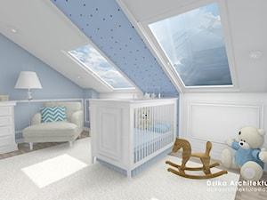 WILLA URSYNÓW - Duży biały niebieski pokój dziecka dla chłopca dla dziewczynki dla niemowlaka, styl klasyczny - zdjęcie od DziKa Architektura