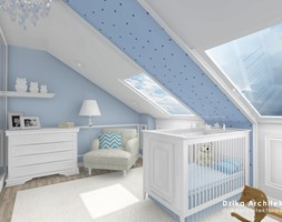 WILLA URSYNÓW - Średni biały niebieski pokój dziecka dla chłopca dla niemowlaka, styl klasyczny - zdjęcie od DziKa Architektura