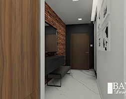 Mieszkanie w stylu loftowym - Mały biały czarny brązowy hol / przedpokój, styl industrialny - zdjęcie od Bayo design