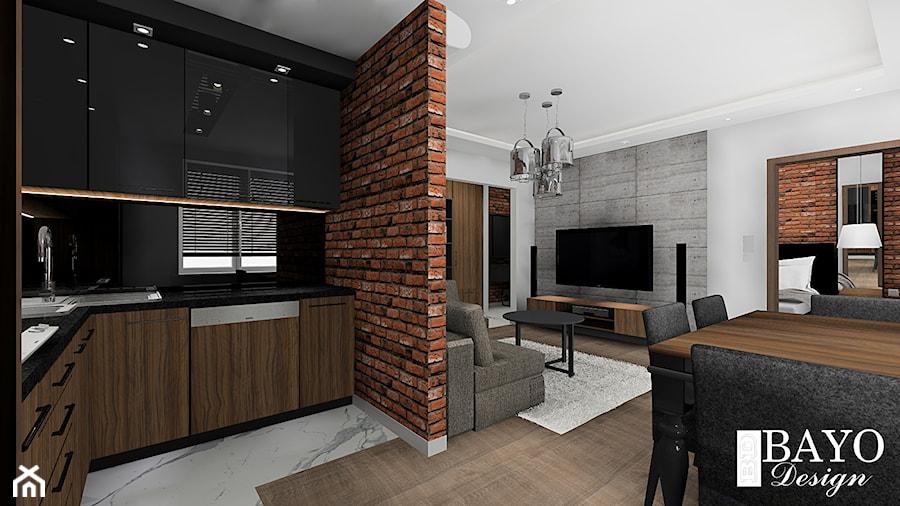 Mieszkanie W Stylu Loftowym Duży Biały Salon Z Kuchnią Z