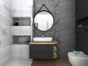 Projekt łazienki czarno-białej z podłogą w płytkach drewnopodobnych
