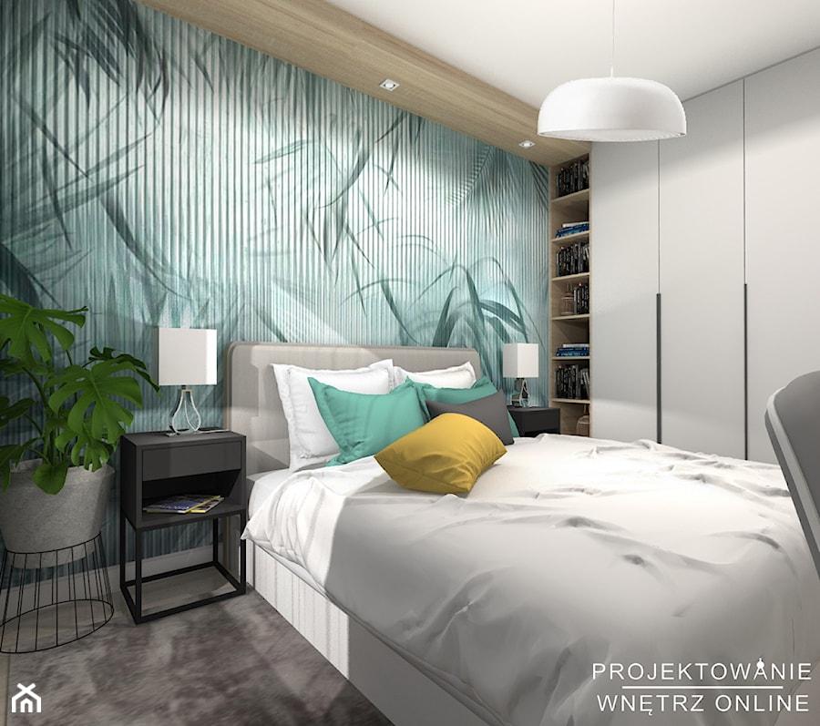 Sypialnia w kolorze turkusowym - Duża zielona sypialnia małżeńska - zdjęcie od Projektowanie Wnetrz Online