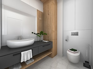 Łazienka czarno biała z akcentem drewna