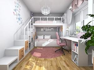 Pokój dwóch dziewczynek z łóżkiem na antresoli - Średni biały szary pokój dziecka dla dziewczynki dla malucha dla nastolatka - zdjęcie od Projektowanie Wnetrz Online