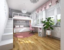 Pokoj dzieciecy dwie dziewczynki rozowy z dwa lozka z antresola - zdjęcie od Projektowanie Wnetrz Online
