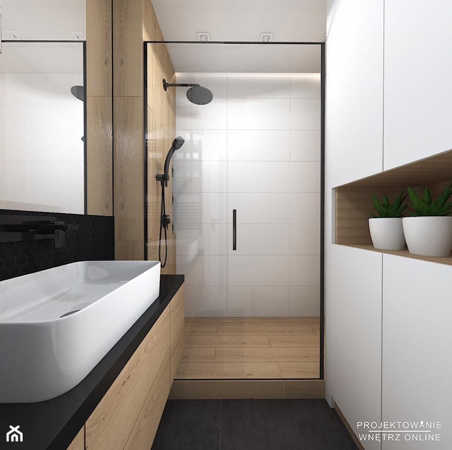 Projekt łazienki Oraz Wc W Stylu Minimalistycznym I Czarna
