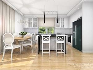 Salon z Kuchnią w nowoczesnym stylu glamour