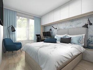 Sypialnia z dedykowaną zabudową meblową