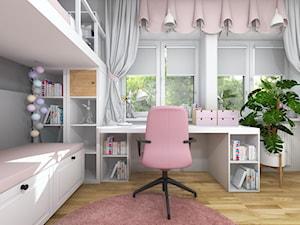 Pokój dwóch dziewczynek z łóżkiem na antresoli - Średni biały szary pokój dziecka dla dziewczynki dla ucznia dla nastolatka - zdjęcie od Projektowanie Wnetrz Online