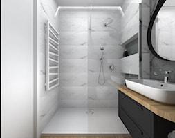 Projekt łazienki Czarno Białej Z Podłogą W Płytkach