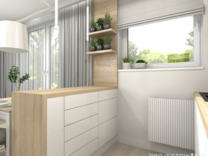 Aneks kuchenny w salonie - Mała otwarta biała kuchnia dwurzędowa z oknem - zdjęcie od Projektowanie Wnetrz Online