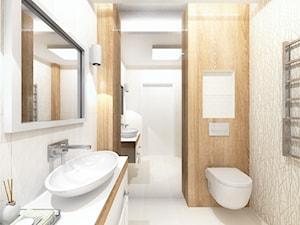 Projekt łazienki - drewno i biel