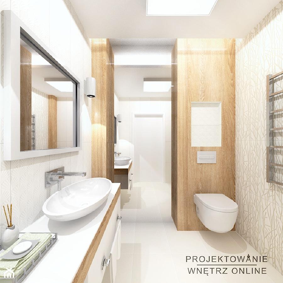 Projekt łazienki Drewno I Biel Zdjęcie Od Projektowanie
