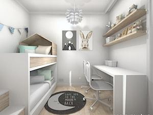 Pokój dziecięcy w szarości - Mały biały szary pokój dziecka dla rodzeństwa dla malucha - zdjęcie od Projektowanie Wnetrz Online