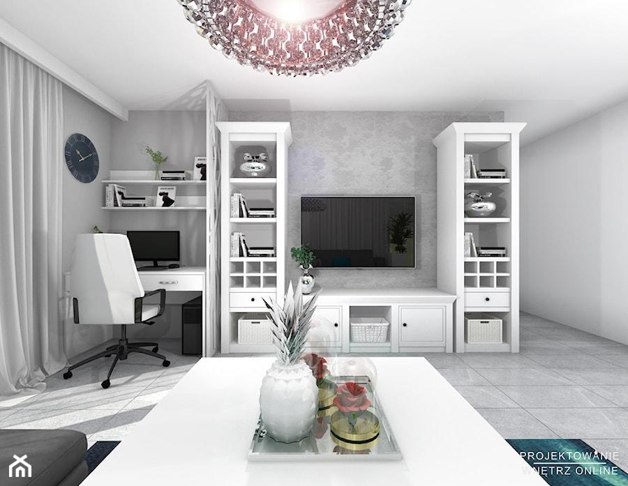 Projektowanie salonu z TV i miejscem na komputer - Średni szary biały salon - zdjęcie od Projektowanie Wnetrz Online